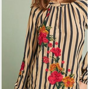 Akemi + Kin | Striped Floral Embroidered Blouse